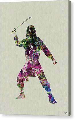 Geisha Girl Canvas Print - Samurai With A Sword by Naxart Studio