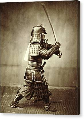 Armor Canvas Print - Samurai With Raised Sword by F Beato