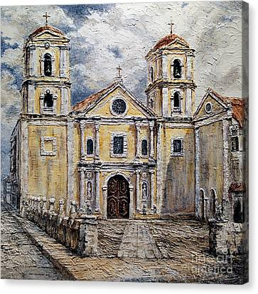 Canvas Print featuring the painting San Agustin Church 1800s by Joey Agbayani