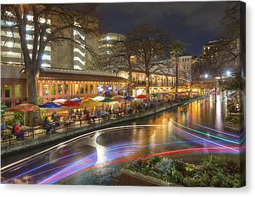 San Antonio Images - The Riverwalk At Night 2 Canvas Print by Rob Greebon