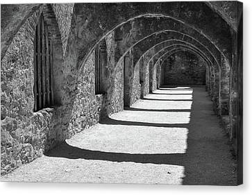 Canvas Print featuring the photograph San Antonio Mission San Jose - Black And White by Gregory Ballos