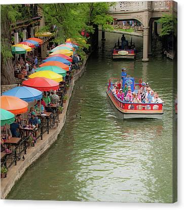 San Antonio Riverwalk Umbrellas 1x1 Canvas Print