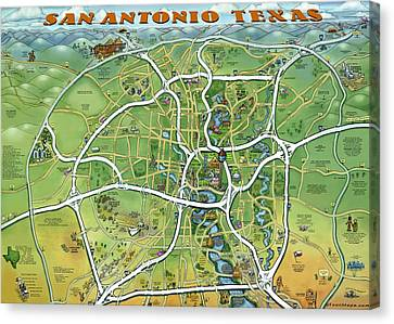 San Antonio Texas Cartoon Map Canvas Print by Kevin Middleton