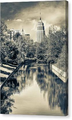 San Antonio Texas Downtown City Skyline On The Water - Sepia Canvas Print
