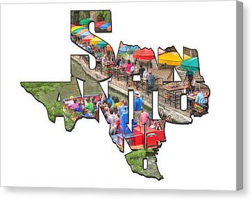 San Antonio Texas Typography - Colorful Riverwalk Of San Antonio Canvas Print by Gregory Ballos