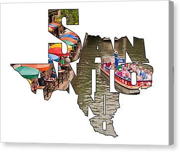 San Antonio Texas Typography - San Antonio Riverwalk Canvas Print by Gregory Ballos