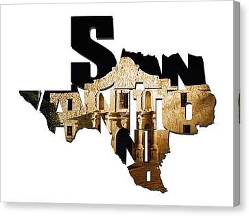 San Antonio Texas Typography - The Alamo At Night Canvas Print by Gregory Ballos