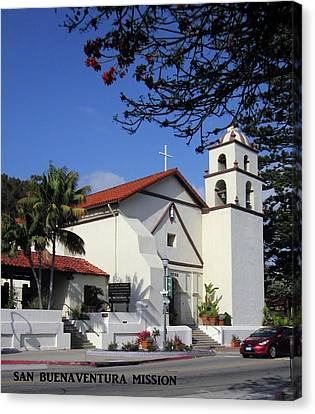 Canvas Print featuring the photograph San Buenaventura Mission by Mary Ellen Frazee