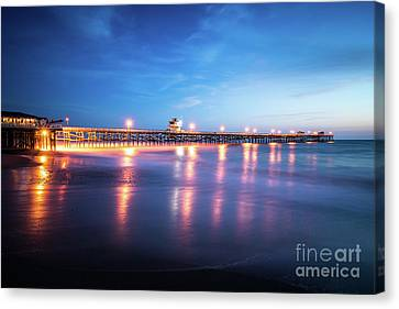 San Clemente Canvas Print - San Clemente California Pier At Sunset by Paul Velgos