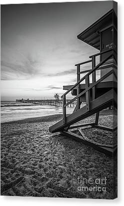 Clemente Canvas Print - San Clemente Lifeguard Tower One Black And White Photo by Paul Velgos