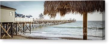 San Clemente Canvas Print - San Clemente Pier And Tiki Umbrella Retro Panorama by Paul Velgos