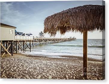 Clemente Canvas Print - San Clemente Pier And Tiki Umbrella Retro Photo by Paul Velgos