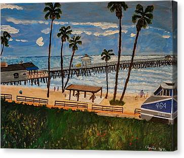 San Clemente Pier And Train Canvas Print