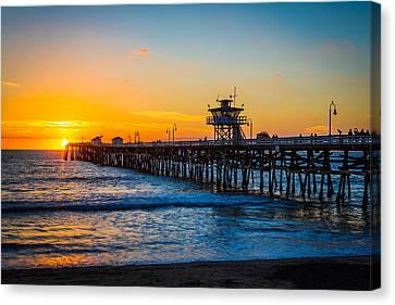 San Clemente Pier At Dusk Canvas Print by Mountain Dreams