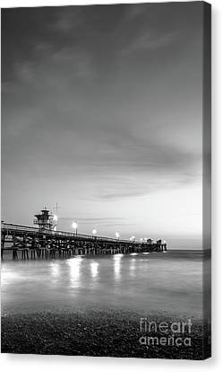 San Clemente Canvas Print - San Clemente Pier At Night Black And White Photo by Paul Velgos