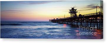 Clemente Canvas Print - San Clemente Pier At Sunset Panorama Photography by Paul Velgos