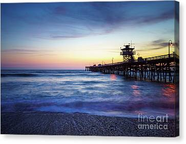 Clemente Canvas Print - San Clemente Pier At Sunset Photography by Paul Velgos