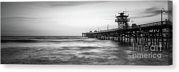 Clemente Canvas Print - San Clemente Pier Black And White Panorama by Paul Velgos