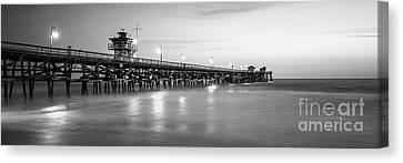 San Clemente Canvas Print - San Clemente Pier Black And White Panorama Photo by Paul Velgos