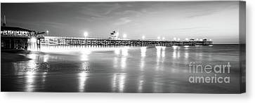 Clemente Canvas Print - San Clemente Pier Black And White Panorama Picture by Paul Velgos