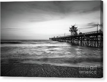Clemente Canvas Print - San Clemente Pier Black And White Photography by Paul Velgos