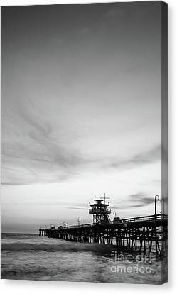 Clemente Canvas Print - San Clemente Pier Black And White Picture by Paul Velgos