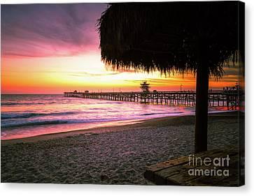 Clemente Canvas Print - San Clemente Pier California Sunset Photo by Paul Velgos