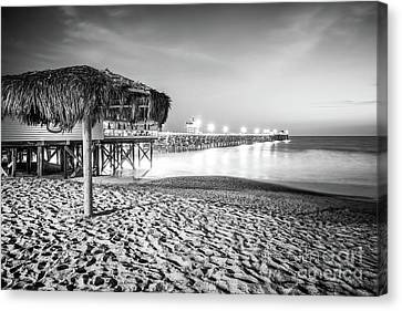Clemente Canvas Print - San Clemente Pier Night Black And White Photo by Paul Velgos