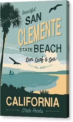 San Clemente State Beach Travel Poster Canvas Print