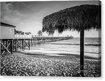 San Clemente Canvas Print - San Clemente Tiki Umbrella Black And White Photo by Paul Velgos