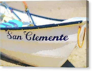 Clemente Canvas Print - San Clemente To The Rescue  Lifeguard Boat Watercolor 2 by Scott Campbell