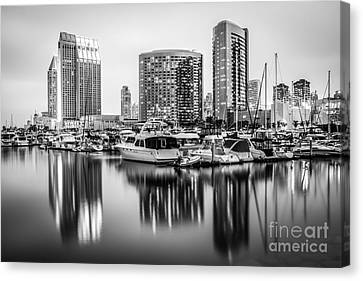 San Diego At Night Black And White Picture Canvas Print by Paul Velgos