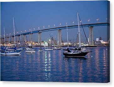 San Diego Bay At Nightfall Canvas Print by Margaret Pitcher