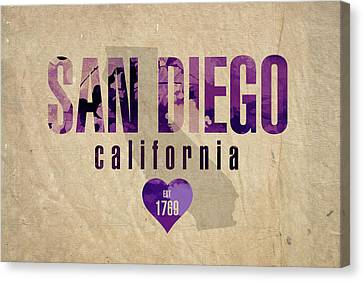 San Diego California City Love Established 1789 Series 004 Canvas Print by Design Turnpike