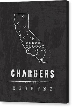 San Diego Chargers Art - Nfl Football Wall Print Canvas Print