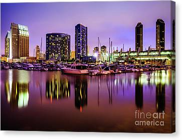 San Diego Marina At Night With Luxury Yachts Canvas Print by Paul Velgos