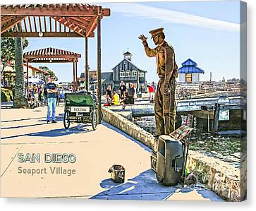 San Diego - Seaport Village Scene Canvas Print