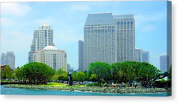 San Diego Skyline - Harbor Bay View Canvas Print by Russ Harris