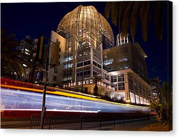 Canvas Print featuring the photograph San Diego Trolley In Front Of The San Diego Public Library by Nathan Rupert