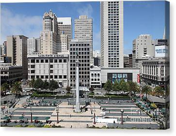 Canvas Print featuring the photograph San Francisco . Union Square . 5d17938 by Wingsdomain Art and Photography