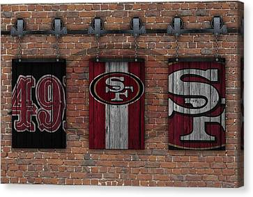 San Francisco 49ers Brick Wall Canvas Print by Joe Hamilton