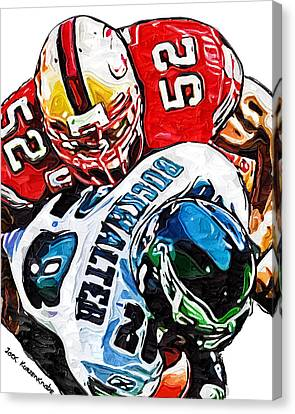 San Francisco 49ers Patrick Willis Philadelphia Eagles Correll Buckhalter  Canvas Print by Jack K