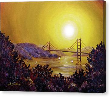 San Francisco Bay In Golden Glow Canvas Print by Laura Iverson