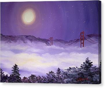 San Francisco Bay In Purple Fog Canvas Print by Laura Iverson