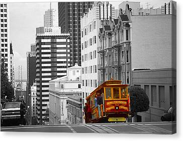 Red Cable Car - San Francisco Highlight Canvas Print by Art America Gallery Peter Potter