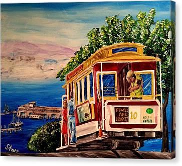 Alcatraz Canvas Print - San Francisco Cable Car by Irving Starr