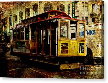 Bayarea Canvas Print - San Francisco Cable Car . Texture by Wingsdomain Art and Photography