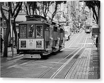 Canvas Print featuring the photograph San Francisco Cable Cars by Eddie Yerkish