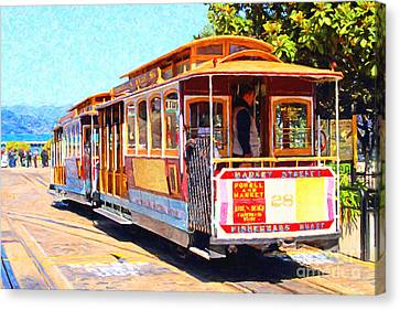 Bayarea Canvas Print - San Francisco Cablecar At Fishermans Wharf . 7d14097 by Wingsdomain Art and Photography
