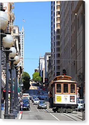 San Francisco Cablecar On Powell Street Canvas Print by Wingsdomain Art and Photography